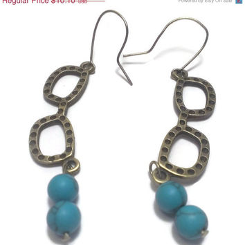 Hipster Librarian Teacher Glasses Charm Dangle Earrings with Natural Turquoise Beads