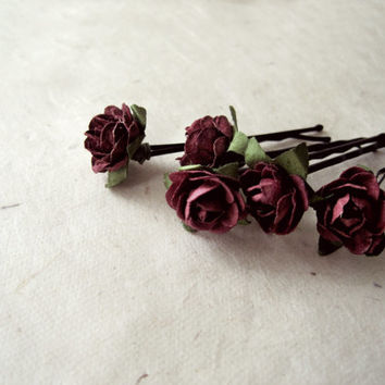 Aubergine Rose Hair Pins. Handmade Paper Flower Bobby Pins in Deep Eggplant Burgundy. Rustic Floral Autumn Fall Wedding Accessories.