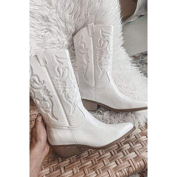 Beverly Hills Cowboy White Western Boots