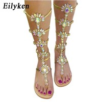 Knee High Jewelry Gladiator Sandal