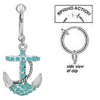 Fake Belly Navel Non Clip on Aqua Lt Blue Paved Gem Anchor Nautical Sailor dangle Ring