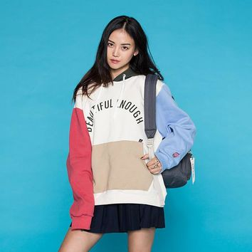 Macaron Hoodies Female 2017 New Women Pullover Sweatshirts Big Pocket Long-sleeved Letters Printed Korean Fashion