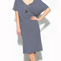 DOUBLE V-NECK STRIPED TUNIC DRESS - NAVY