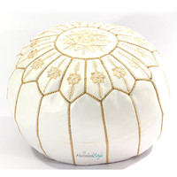 Moroccan Pouf White Leather Pouf Bouquet of Flower Style Pouf Guenuine Ottoman Leather Stool