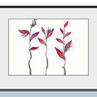 Minimalist floral drawing. Modern red art. Original illustration with red leaves. On slightly cream paper. A4. Red home decor.