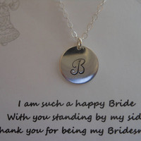 Bridesmaid Gift, Set of FIVE Initial Necklaces, Monogram, Maid of Honor Gift, Sterling Silver Initial, Personalized Necklace,