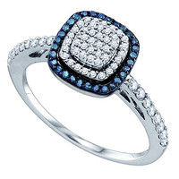 Blue Diamond Fashion Ring in 10k White Gold 0.43 ctw