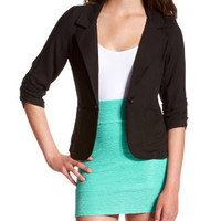 Charlotte Russe - Twill Patch-Pocket Blazer