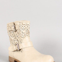 Perforated Rhinestone Buckle Round Toe Ankle Bootie
