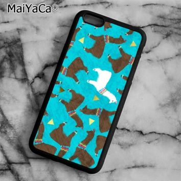 Alpaca Print Pattern Phone Case Cover for iPhone 5 5s SE 6 6s 7 8 Plus X for samsung S5 S6 S7 edge S8 Plus Shell