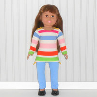 18 inch Girl Doll Blue Stripe Tee Shirt and Leggings American Doll Clothes
