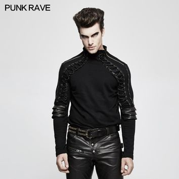 PUNK RAVE New Men T-shirt Gothic Steam Punk  Turtleneck Collar Front with Rope Stereo Zipper on Both Sides Armor T-shirt