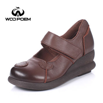 WooPoem Spring Autumn Breathable Shoes Women Cow Leather Pumps High Heels Platform Wedges Shoes Retro Mary Janes Women Pumps 738
