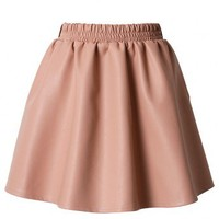 Peach Faux Leather Skater Skirt