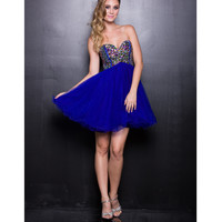 2013 Prom - Royal Blue Chiffon Short Prom Dress - Unique Vintage - Cocktail, Pinup, Holiday & Prom Dresses.