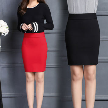 2016 Autumn Winter High Waist Womens Skirts Fashion Sexy Office Lady Midi Skirt Knee-Length Pencil Skirts Women Skirt Faldas