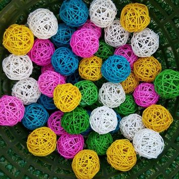 3cm Rattan ball vine confetti Scatter for Gift box Craft Birthday Wedding Party baby shower table centerpieces favor DecorDIY