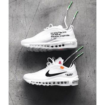 Nike Air Max 97 x OFF-WHITE Fashion Women Men Casual Running Sneakers Sport Shoes I/A