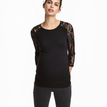 H&M MAMA Jersey Top with Lace $24.99