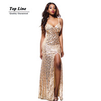 AW special occasion women designer elegant gown sequined Deep V-neck bodycon High Slit maxi dress New Year Party club dress