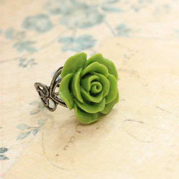 Green Rose Ring, Resin Flower Ring, Cocktail Ring, Antique Silver Lace Filigree, Adjustable Ring, Bridal Jewelry, Statement Floral Spring