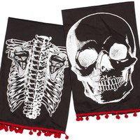 Sourpuss Clothing X-Ray Skeleton Tea Towel Black One