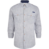 River Island MensGrey crosshatch military shirt