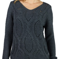 LE3NO Womens Cable Knit Sweater with Twisted Drawstring on Back (CLEARANCE)