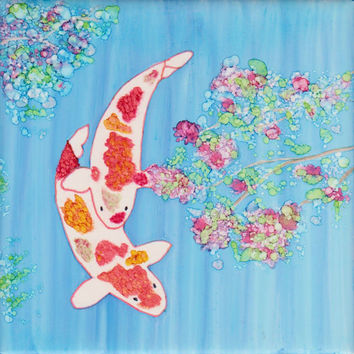 Koi Pond Alcohol Ink Painting on Ceramic Tile with Black Stand or Frame