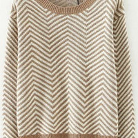 Khaki Wave Print Knitted Sweater