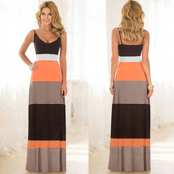 Fashion Strap Stripe Multicolor Off Shoulder Backless Maxi Dress