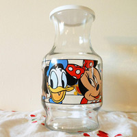 Walt  Disney Company Juice Carafe, Mickey Mouse, Minnie Mouse, Donald Duck Juice Pitcher, Mickey Mouse Jug