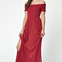 LA Hearts Smocked Off-The-Shoulder Maxi Dress at PacSun.com