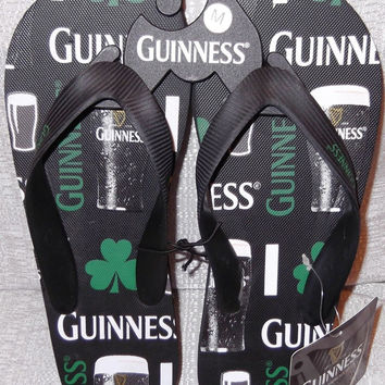 Guinness Beer Clove Men's Flip Flops Sandals Large 10/11  New With Tags