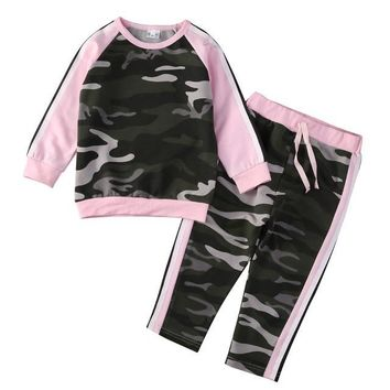 2PC Girl's Army Green Camouflage and Pink Outfit