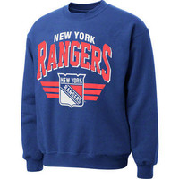New York Rangers Blue Mitchell & Ness Stadium Crew Neck Sweatshirt-New York Rangers-NHL- Gotta Go to Mo's