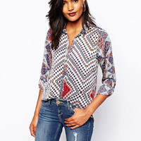 Geometric Totem Print Button Long-Sleeve Collared Shirt