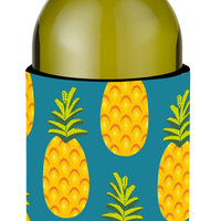 Pineapples on Teal Wine Bottle Beverge Insulator Hugger BB5145LITERK