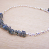 Labradorite Gemstone Daintly Sterling SIlver Rolo Chain Wire Wrapped Bracelet / Gift for Her