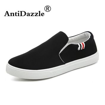 Antidazzle Spring Black American flag gray letters Flats Canvas Men's shoes Absorption Breathable Lace Up Male shoes
