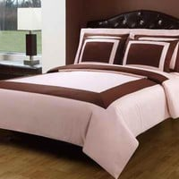 Blush and Chocolate Hotel 5pc Duvet Cover Set