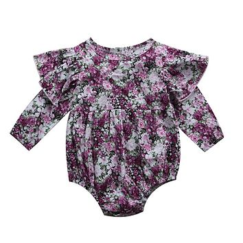Fall Baby Girl Long Sleeve Flower Romper Newborn Baby Girls Lace Floral Rompers New Arrival Fashion Jumpsuit