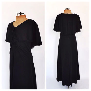 Vintage 1970's Black Cape Dress Maxi Summer Sundress Romantic Indie Festival Hippie Cape Sleeves Goth Boho Macabre Long Prom Gown 70s SoCal