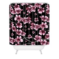 Belle13 Cherry Blossoms On Black Shower Curtain