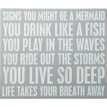 You Might Be A Mermaid Beach-Inspired Large Wooden Box Sign