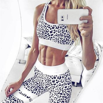 Leopard Print Tracksuit Women Fitness Sport Suit Sports Bras Sock Leggings 2 PCS Running Sport suit