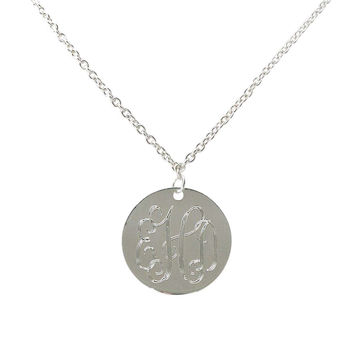 Monogrammed Necklace Silver