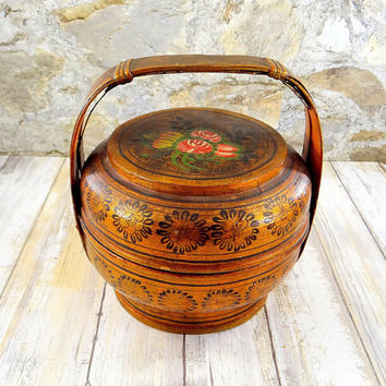Antique Chinese Wedding Basket, Hand Painted, Wood