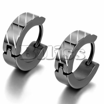 SHIPS FROM USA Men Jewelry Blue/ Black/ Silver Stainless Steel Small Hoop Huggie Earrings Cool Striped Pattern 12mm pendientes aros acero