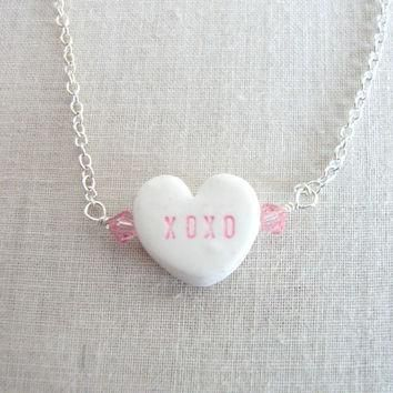 Conversation Heart Necklace XOXO Valentine's by LoveYourBling